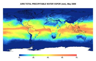 This image represents the total precipitable water vapor for May 2009 as observed by JPL's Atmospheric Infrared Sounder on NASA's Aqua satellite.