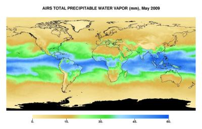 This image represents the total precipitable water vapor for May, 2009 as observed by JPL's Atmospheric Infrared Sounder on NASA's Aqua satellite.