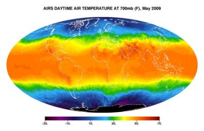 This image shows average daytime temperatures in May, 2009, as observed by JPL's Atmospheric Infrared Sounder on NASA's Aqua satellite.