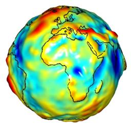 This visualization of a gravity model was created with data from NASA�s Gravity Recovery and Climate Experiment and shows variations in the gravity field across Africa and Europe.