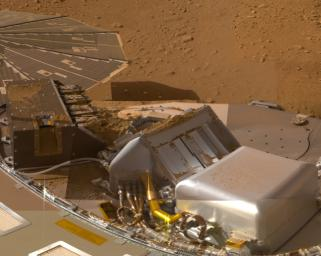 This mosaic of images from the Surface Stereo Imager camera on NASA's Phoenix Mars Lander shows a portion of the spacecraft's deck after deliveries of several Martian soil samples to instruments on the deck.