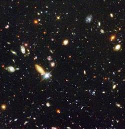 Several hundred never before seen galaxies are visible in this 'deepest-ever' view of the universe, called the Hubble Deep Field, made with NASA's Hubble Space Telescope.