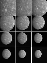 These images were taken every five minutes by MESSENGER as the spacecraft departed Mercury after completing its second flyby on October 6, 2008. A portion of the same sequence, totaling 198 images in all, has also been made into a movie.