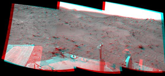 This stereo scene combines frames taken by the navigation camera on NASA's Mars Exploration Rover Spirit during the 1,869th Martian day, or sol, of Spirit's mission on Mars (April 6, 2009). You will need 3-D glasses to view this image.