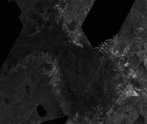 This mosaic of image swaths from Cassini�s Titan Radar Mapper, taken with the synthetic-aperture radar (SAR), features a large dark region several hundred kilometers across that differs in several significant ways from potential lakes observed on Titan.