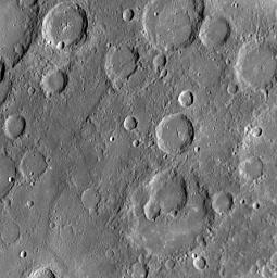The craters in this NAC image display a variety of interesting characteristics. Visible in the lower half of this image are several overlapping impact craters.