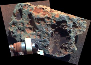 This view of a rock called 'Block Island,' the largest meteorite yet found on Mars, comes from the panoramic camera (Pancam) on NASA's Mars Exploration Rover Opportunity.