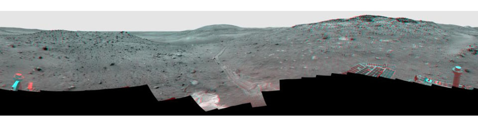 This full-circle view from the panoramic camera (Pancam) on NASA's Mars Exploration Rover Spirit shows the terrain surrounding the location called 'Troy,' where Spirit became embedded in soft soil during the spring of 2009. 3D glasses are necessary.