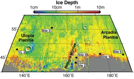 Using observations from NASA's Mars Reconnaissance Orbiter, this map shows five locations where fresh impact cratering has excavated water ice from just beneath the surface of Mars.