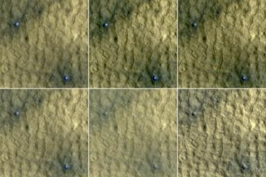 This series of images spanning a period of 15 weeks shows a pair of fresh craters taken by NASA's Mars Reconnaissance Orbiter. Bright, bluish material apparent in the earliest images disappears by the later ones.