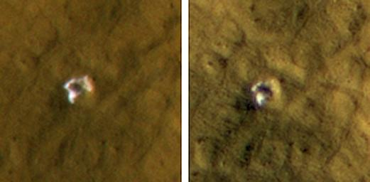 The High Resolution Imaging Science Experiment camera on NASA's Mars Reconnaissance Orbiter reveals subsurface ice in a crater formed in 2008. The impact that dug the crater excavated water ice from beneath the surface.