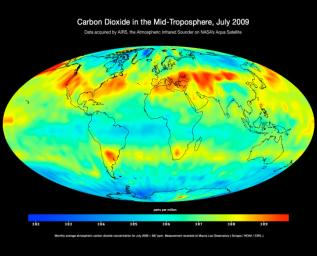 Created with data acquired by JPL's Atmospheric Infrared Sounder instrument during July 2009 this image shows large-scale patterns of carbon dioxide concentrations that are transported around Earth by the general circulation of the atmosphere.