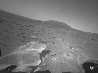 NASA's Mars Exploration Rover Spirit looks toward the northwest and shows some of the targets examined by Spirit after the rover became embedded at this site.