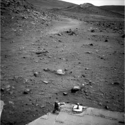 NASA's Mars Exploration Rover Spirit used its rear hazard avoidance camera to take this view toward the south during the 1,899th Martian day, or sol, 