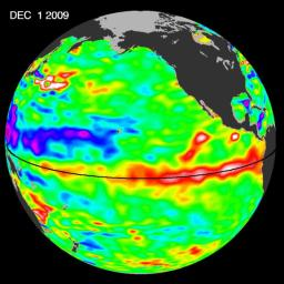 The most recent sea-level height data from the NASA/European Ocean Surface Topography Mission/Jason-2 oceanography satellite show the continued eastward progression of a strong wave of warm water, known as a Kelvin wave, now approaching South America.