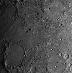 Impact craters and basins on Mercury are named for deceased artists, musicians, painters, and authors who have made outstanding contributions to their fields in this image taken by NASA's MESSENGER.