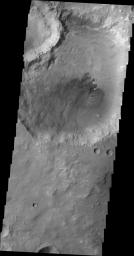 This image, taken by NASA's 2001 Mars Odyssey spacecraft, shows dunes on the floor of an unnamed crater in Tyrrhena Terra.