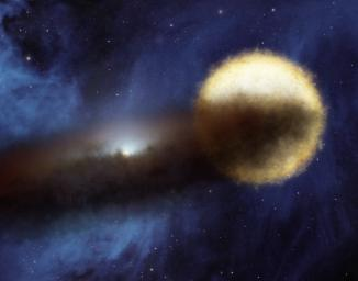 Every 27 years, a bright star called Epsilon Aurigae fades over period of two years, then brightens back up again. A companion is known to be surrounded by a dusty disk, as illustrated in this artist's concept.