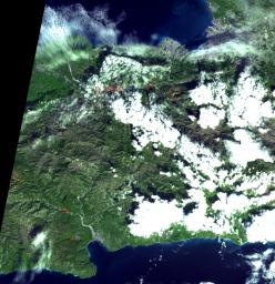 An instrument on NASA's Terra spacecraft captured a simulated natural color image of the Port-au-Prince, Haiti, area, two days after a devastating earthquake.