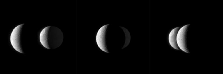 From NASA's Cassini spacecraft's perspective, Saturn's moon Dione passes in front of the moon Tethys in this mutual event.