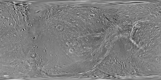 This global map of Saturn's moon Dione was created using images taken during flybys by NASA's Cassini spacecraft. Images from NASA's Voyager mission fill the gaps in Cassini's coverage.