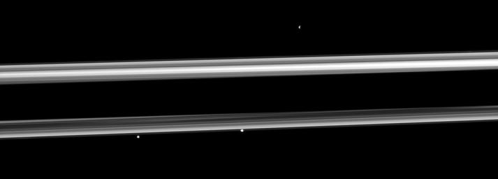 Three of Saturn's small moons straddle the rings in this image captured by NASA's Cassini spacecraft. From left to right are Pandora, Prometheus and, near the top right, Epimetheus.
