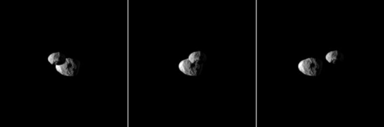 Saturn's moon Epimetheus passes in front of Janus in this 'mutual event' (one moon passing close to or in front of another) chronicled by NASA's Cassini spacecraft. These three images were each taken a little more than a minute apart.