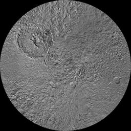 The northern hemisphere of Saturn's moon Tethys is seen in this updated polar stereographic map, mosaicked from the best-available images obtained by NASA's Cassini spacecraft.