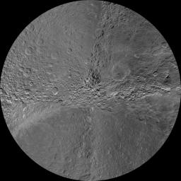 The southern hemisphere of Saturn's moon Rhea is seen in this polar stereographic maps, mosaicked from the best-available images obtained by NASA's Cassini spacecraft.