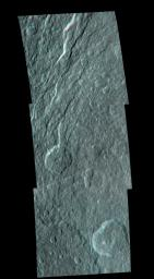 Wispy fractures cut through cratered terrain on Saturn's moon Rhea in this high resolution, 3-D image from NASA's Cassini spacecraft. 3D glasses are necessary to identify surface detail.