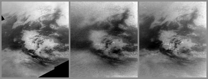 Images from NASA's Cassini spacecraft show changes caused by methane rain in the bright Adiri region near the equator of Saturn's largest moon, Titan.