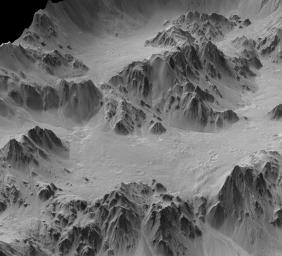This is a synthesized, oblique view of a portion of the wall terraces of Mojave Crater in the Xanthe Terra region of Mars. It is a digital terrain model generated from a stereo pair of images from NASA's Mars Reconnaissance Orbiter.