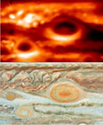 New thermal images from powerful ground-based telescopes show swirls of warmer air and cooler regions never seen before within Jupiter's Great Red Spot.