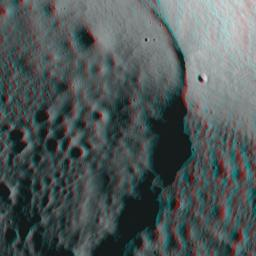 NASA's Lunar Reconnaissance Orbiter's looks at the Moon in 3D. 3D glasses are necessary to view this image.