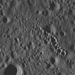 NASA's Lunar Reconnaissance Orbiter's showing a string of secondary craters from an impact crater to the north, probably Giordano Bruno.