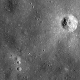 This uncalibrated image from NASA's Lunar Reconnaissance Orbiter's shows the Apollo 14 landing site and nearby Cone crater. The trail followed by the astronauts can clearly be discerned.