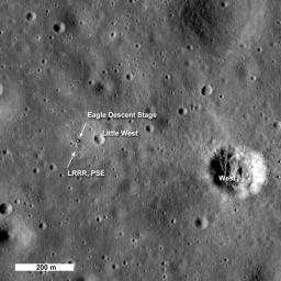 One month after its first image of the Apollo 11 landing site was acquired, NASA's Lunar Reconnaissance Orbiter passed over the site again providing a new view of the historic site.