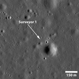 NASA's Surveyor 1 spacecraft sitting silently on Oceanus Procellarum, the first US spacecraft to land on another planet on June 2, 1966 in this image taken by NASA's Lunar Reconnaissance Orbiter.