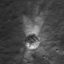 Distinctive asymmetrical ejecta surrounding a 140 meter diameter crater in the lunar highlands as seen by NASA's Lunar Reconnaissance Orbiter. Crater is located on the northeastern rim of the eroded (pre-Nectarian) crater Hommel.