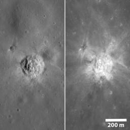 The same crater, as seen by NASA's Lunar Reconnaissance Orbiter, under very different lighting. On the left the Sun was midway to the horizon and on the right the Sun was high, approaching noon.