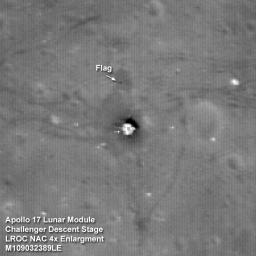 The Apollo 17 Lunar Module Challenger descent stage comes into focus in this image taken by NASA's Lunar Reconnaissance Orbiter.