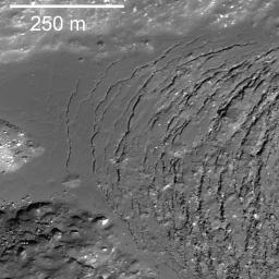 NASA's Lunar Reconnaissance Orbiter captures frozen impact melt flows on the floor of Moore F, a farside highlands crater.
