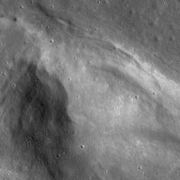 This image from NASA's Lunar Reconnaissance Orbiter shows Vallis Lorca, one of four lobes that make up Aratus CA in western Mare Serenitatis near the Montes Apennius.
