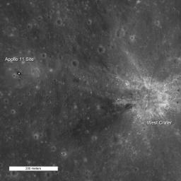 NASA's Lunar Reconnaissance Orbiter captures high noon at Tranquility Base.