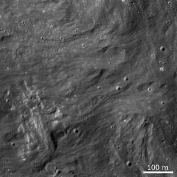 Frozen impact melt flows on the ejecta blanket of the young impact crater Giordano Bruno in this image from NASA's Lunar Reconnaissance Orbiter.
