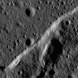 Boulders perched atop a wrinkle ridge in Mare Imbrium west of the Montes Teneriffe can be seen in this image taken by NASA's Lunar Reconnaissance Orbiter.
