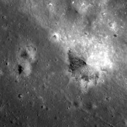 NASA's Lunar Reconnaissance Orbiter looks near the northeast edge of the unusually large melt pond adjacent to the lunar far side crater King.