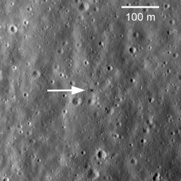 On February 21, 1972, Luna 20 soft landed in the rugged highlands between Mare Fecunditatis and Mare Crisium. The Luna 20 descent stage still sits silently on the Moon, clearly visible in this image taken by NASA's Lunar Reconnaissance Orbiter.