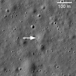 This image taken by NASA's Lunar Reconnaissance Orbiter shows Soviet robotic lander Luna 17 still sitting on Mare Imbrium where it delivered the Lunokhod 1 Rover in November 1970.