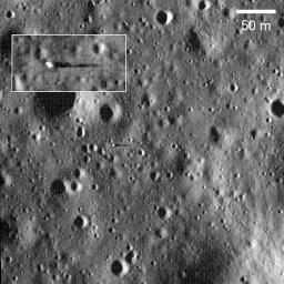 Surveyor 6 casting 18-meter long shadow with Sun just 8° above the horizon. Surveyor 6 Landed 10 November 1967 in Sinus Medii. This image was taken by NASA's Lunar Reconnaissance Orbiter.